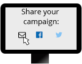Picture of a computer screen with a cursor clicking on the mail icon to share their fundraiser with everyone. There is also a Facebook and Twitter icon next to the mail icon.